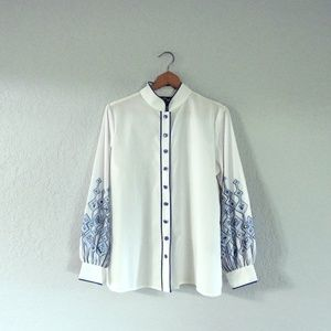 Bob Mackie Wearable Art white embroidered blouse